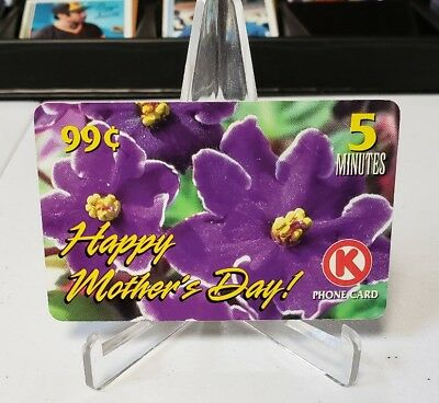 Circle K Issue Phone Card 5 Minutes Mothers Day SRP 99 Cents Purple Flowers