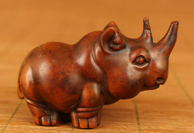 Rare chinese old Boxwood Hand Carved Rhinoceros Statue Big Netsuke