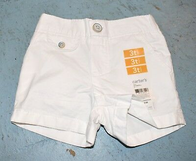 girls shorts 3T NWT Carter's white 100% cotton 1 front pocket