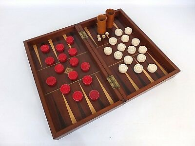 Antique Mahogany Rosewood And Satin Birch Folding Backgammon Draughts Game Board
