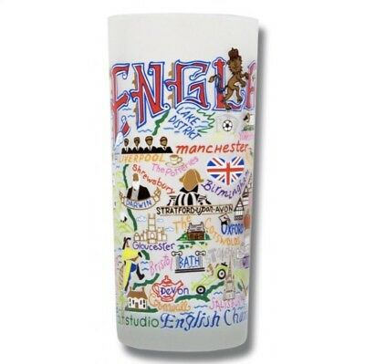 CatStudio England Frosted Drinking Glass Souvenir Tumbler Colorful Graphic Print