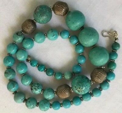"""ANTIQUE CHINESE STERLING SILVER TURQUOISE BEADS 21""""NECKLACE.74.5 Grams."""