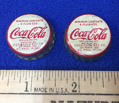 Vintage Coca Cola Bottle Caps Coke Metal Cork St Paul Minnesota MN Co Pair