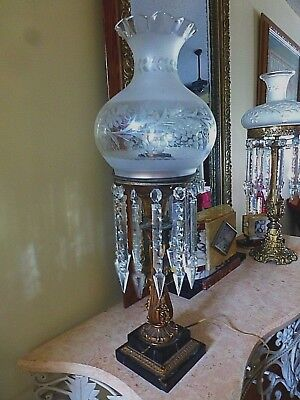 "Beautiful 1850's Antique Astral Oil Lamp (26.5"" Tall) With Antique Shade"