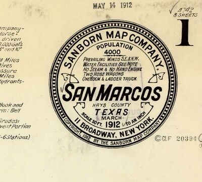 San Marcos, Texas~Sanborn Map© sheet~ 20 map sheet ~on CD in full color