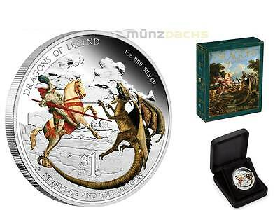 1 $ Dollar Dragons of Legend St. George Dragon Tuvalu 1 oz Silber Silver PP 2012