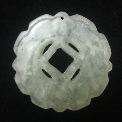 """2"""" Hand Carved Antique Intricate Chinese Green White Jade Pendant Disk Jadeite"""