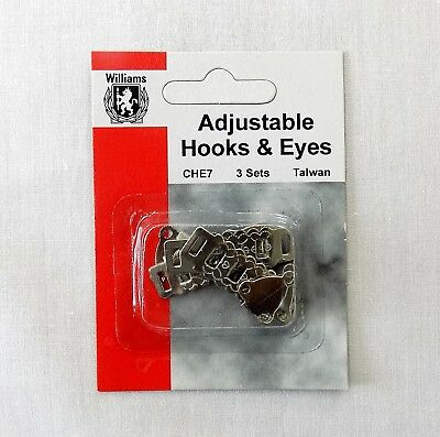 3-pack Williams Adjustable Hook and Eye Sew-On Metal Skirt & Trouser Fasteners