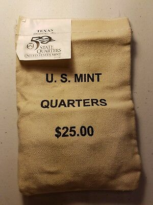 US MINT SEWN andISSUED$25 BAG OF 2004 -D-TEXAS STATEHOOD QUARTERS