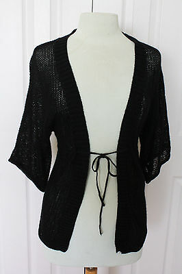 Old Navy Short Sleeve Wrap Cardigan Sweater in Black w/ Metallic Thread Sz S