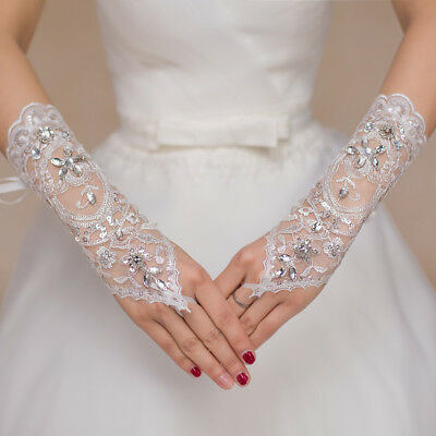 LACE RHINESTONE BRIDE FINGERLESS GLOVES BRIDAL WEDDING DRESS ACCESSORIES Newly