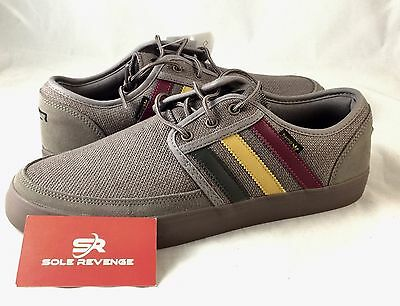 quality design 807fb f6687 7 New adidas Originals SEELEY BOAT HEMP Shoes Brown Rasta Red Green Mens  C75633