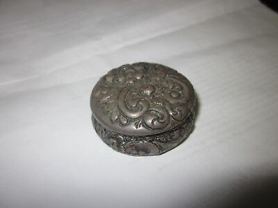 Vintage Sterling Silver Pill Snuff Box Art Nouveau Embossed Trinket