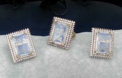 AAA Quality 925 Sterling Silver Jewelry Moonstone Lady Earrings -Ring Set