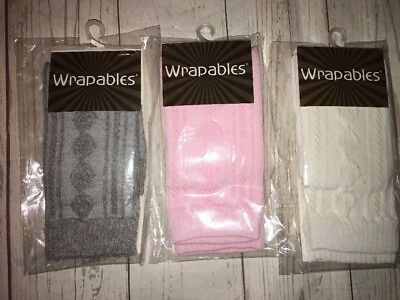 Wrapables Lot Baby Girl Leg Warmers Pink Gray Cream 3 Pairs NEW