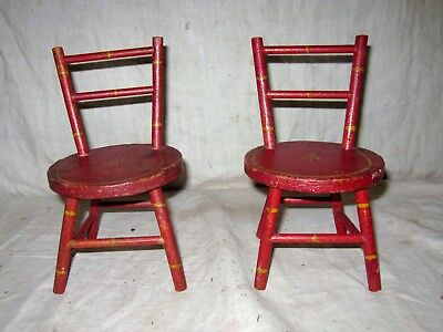A Wonderful Pair Of Early Painted Small Doll Chairs