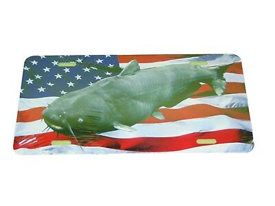 Blue Catfish American License Plate 6 X 12 Inches New Aluminum Usa Flag