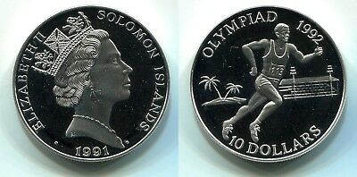 "10 Dollars Solomon Islands 1991 Proof Silber ""Olympiade""   #2"