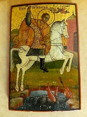 Russian Orthodox Hand Painted St. George Slaying The Dragon on Wood Original