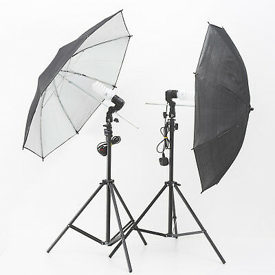 Continuous Lighting Kit: 2 Heads, Umbrellas And Stands