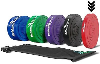 Pull Up Resistance Band Fitnessband von BeMaxx Fitness + Trainings ROT