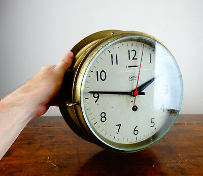 Ships Bulkhead Brass Wall Clock by Smiths Astral Maritime Boat 7 Jewel 8 Day