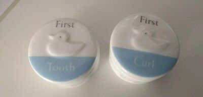 BABY BOYS CHRISTENING GIFT IDEA First Tooth and Curl Trinket Pot Set Little Duck