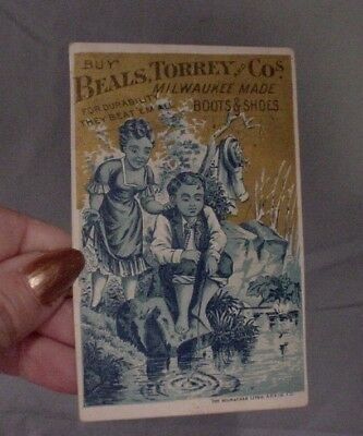 Antique Advertising Trade Card BEALS TORREY MILWAUKEE WI BOOTS & SHOES