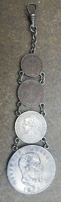 Vintage Pocket Watch Coin Fob With 1876 Italy 5 Lire Silver Coin No Reserve