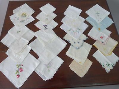 TWENTY SIX vintage embroidered handkerchiefs in a variety of colours