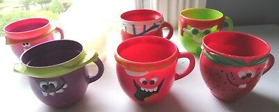 Vintage Lot of 6 Pillsbury Kool Aid Funny Face Cups & 1 White Cup 1969 - 1974