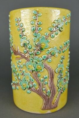 Fine Antique Chinese Carved Relief Porcelain Cherry Blossom Scholars Brush Pot