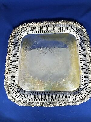 Vintage Silver Plate Square Tray Webster Wilcox 3228 Int Silver Co Rococo