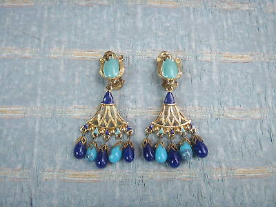 Old Vintage Sphinx Egyptian Revival Gold Plated Clip Drop Earrings 1970s  Blue