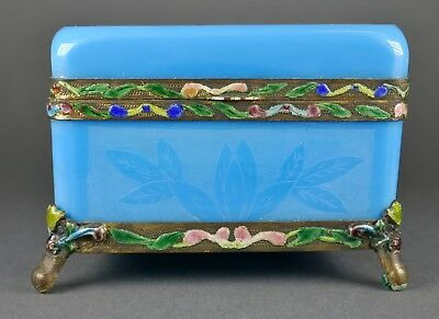 Fine Antique Chinese Carved Peking Blue Glass Footed Enamel Casket Box