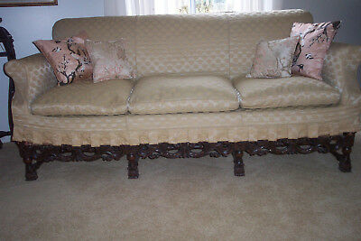 Heavily Carved Walnut Wood Frame Jacobean Style Antique 1920 Sofa Couch Gothic