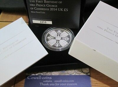 UK Royal Mint 2014 1st BIRTHDAY OF PRINCE GEORGE £5 SILVER PROOF CROWN - Box/Coa