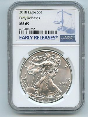 2018 $1 American Silver Eagle Dollar NGC MS69 Early Releases