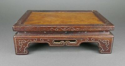 Fine Antique Chinese Carved Wood Silver Inlaid Burl Top Stand 4 Porcelain Object