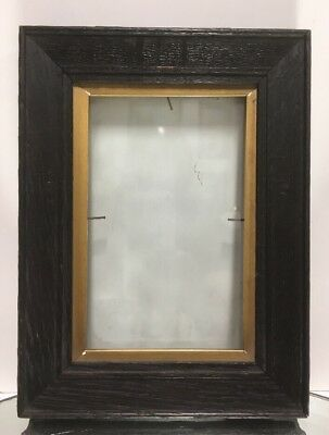 """Antique Arts and Crafts Mission OAK Picture Frame Gold inner Fits 3 1/2""""x 5 1/2"""""""