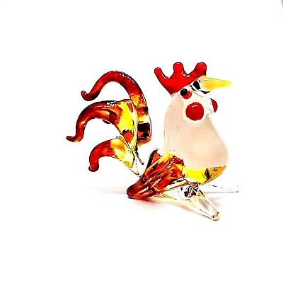 Figurine Miniature Blown Glass Hen Cock Rooster Handmade Animal Collectibles #B