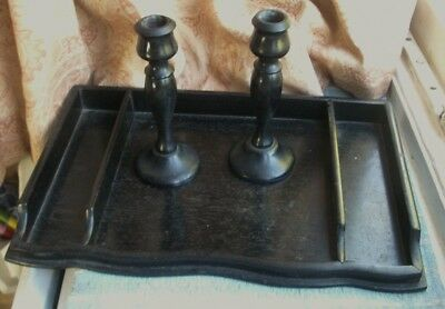 Old Antique Solid Ebony Turned Wooden Pair Candlesticks Desk Writing Tray 1880