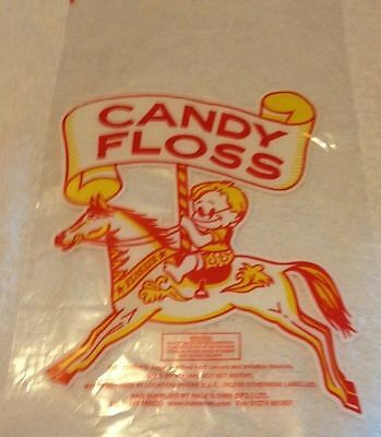 """100 CANDY FLOSS BAGS~CAROUSEL HORSE~11""""x18""""~100 FREE TIES~FREE POSTAGE"""
