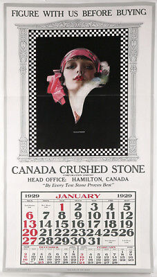 1929 Pin-Up Calendar Sample Rolf Armstrong Exotic Vamp Is The Girl Of The Hour