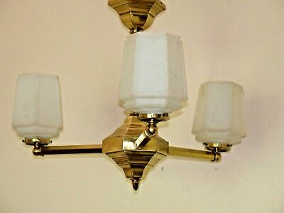 Antique Chandelier, 1920, 1930, Heavy Frosted 6 sided Glass Shades