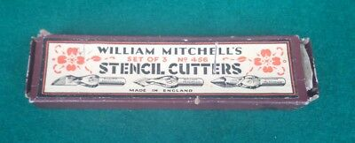 Vintage William Mitchell's Stencil Cutters Set of 3 No 456