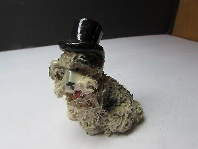 Super Cute Vintage Spaghetti Poodle Dog With Top Hat Figurine