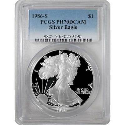 1986-S PCGS PR70 Proof American Silver Eagle Silver One Dollar Coin