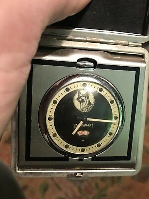 Rare With Dog On Dial TRAVEL CLOCK - INGRAHAM SENTINEL - SILVER And Red Case