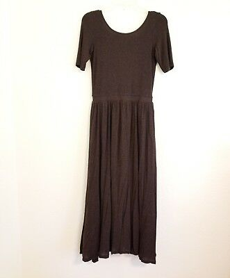 b7ae9867a680a Anthropologie Bordeaux Sz S Small Brown Maxi Dress Scoop Back w/ Pockets  Knit